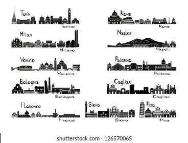 Silhouette sights of 11 cities of Italy  - Turin; Milan; Venice; Bologna; Florence Rome; Naples; Palermo; Cagliari; Siena; Pisa.