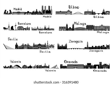 Silhouette signts of 8 cities of Spain - Madrid, Barcelona, Seville, Valencia, Bilbao, Malaga, Saragossa, Granada
