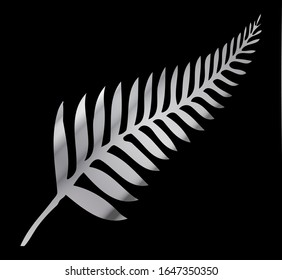Silhouette of a silver fern the national emblem of New Zealand over a blackbackground