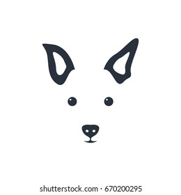 Silhouette simple head dog. Vector illustration.