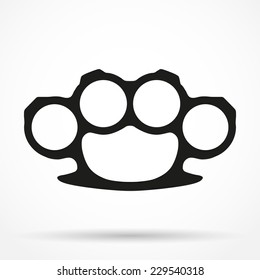 Silhouette simple symbol of knuckles. Knuckle-duster of crime. Vector illustration isolated on white background.