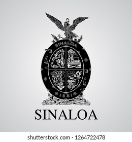 Silhouette of Sinaloa Coat of Arms. Mexican State. Vector illustration