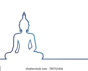 Silhouette of sitting Buddha on white background. Vector illustration. Indian, Buddhism, Spiritual concept background