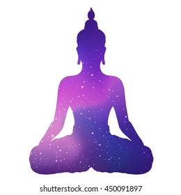 Silhouette of sitting Buddha with space and stars isolated on white background. Vector illustration. Vintage composition. Indian, Buddhism, Spiritual motifs. Tattoo, yoga, spirituality.