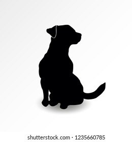 Silhouette of a sitting dog looking up at right side. Jack russell terrier sniffing air. Vector illustration
