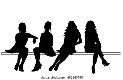 silhouette of sitting girls set