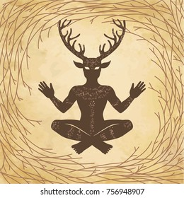 Silhouette of the sitting horned god Cernunnos. Mysticism, esoteric, paganism, occultism.  Vector illustration. Background - imitation of old paper, a tree branch.