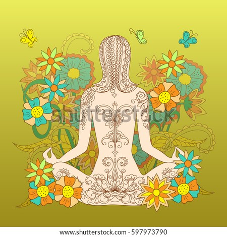 a4a37a0e512a3 Silhouette sitting in yoga lotus pose tattoo girl with hand drawn floral  pattern on backdrop for