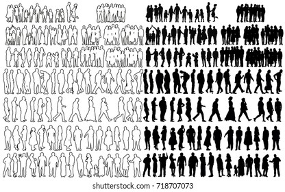 silhouette, sketch people collection
