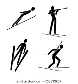 Silhouette Ski jumping, Biathlon skiing shooting standing. winter sport games disciplines. Black and white flat slyle design vector illustration.Web pictogram icon symbol