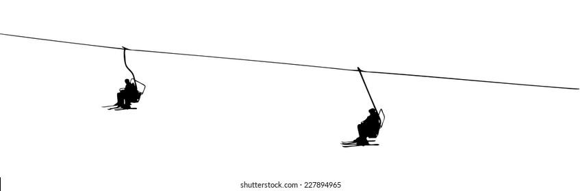 silhouette of a ski lift on white background