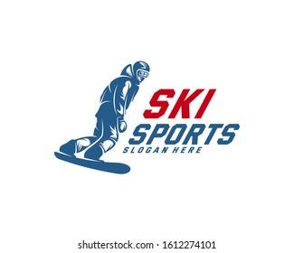Silhouette Ski logo design Vector, Winter sports, Snowboarder, skier player.