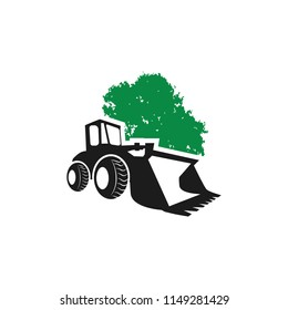 silhouette Skid Steer Loader Tractor and tree logo