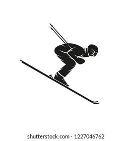 Silhouette of a skier downhill on the ski down a steep hill, extreme slalom winter sport logo, t-shirt print emblem mockup