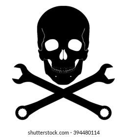 silhouette skull with crossed wrench / vector symbol