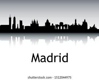 Silhouette Skyline of Madrid Spain