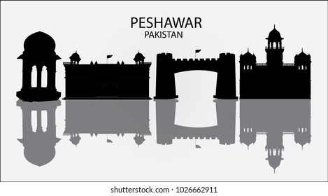 Silhouette of Skyline of Peshawar Pakistan in white background with reflection, showing Khyber Pass , Islamia College , Peshawar Museum and Yadgar Chowk