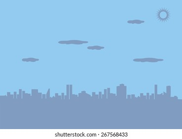 Silhouette of skyscrapers and high rise buildings in urban city under sunny sky. Vector background illustration with copy space