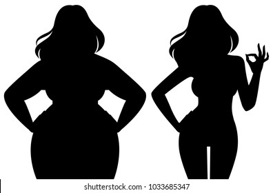 Silhouette of a slim and fat woman vector illustration