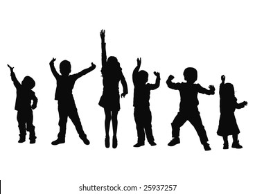 Silhouette of small children in vector