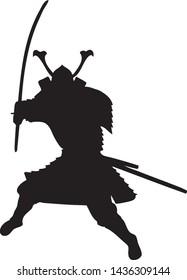 Silhouette SMURi with Oyoroi and Kabuto Armor bring Katana Sword - Vector