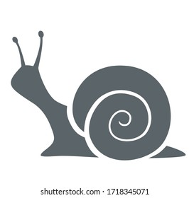 Silhouette of snail on white background. Vector illustration.