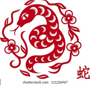 silhouette of snake cut from paper in chinese style as symbol of year 2013