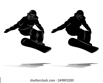 silhouette snowboard man on snow, jumps on snowboard, black contour on white background