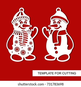 Silhouette of Snowman. Templates for laser cutting, wood carving, plotter cutting or printing.Vector illustration.
