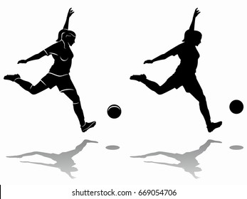 silhouette of soccer player , black and white drawing, white background