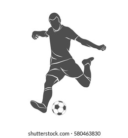 Silhouette soccer player quick shooting a ball on a white background. Vector illustration.