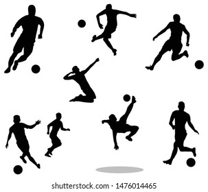 Silhouette of soccer players. Running and jumping. Part 1