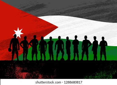 Silhouette of soccer team with flag of Jordan as a background, Vector Illustration