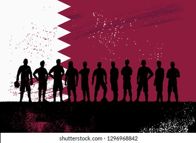 Silhouette of soccer team with flag of Qatar as a background, Vector Illustration