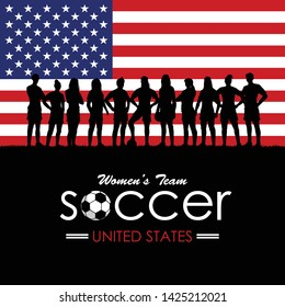 Silhouette of women's soccer team with flag of United States as a background, Vector Illustration