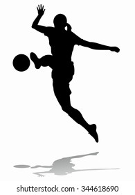 silhouette soccer woman player . player shooting.white background
