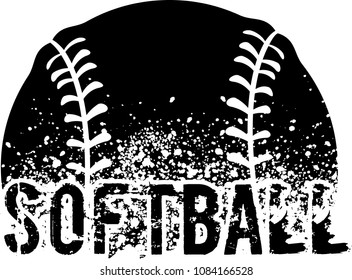 silhouette of an a softball with dirt splatter and a grunge typeface of the word softball.