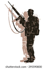 silhouette of soldier in action. vector 7