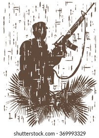 silhouette of soldier in action. vector illustration in grunge style 3