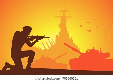 Silhouette of soldier on the battlefield