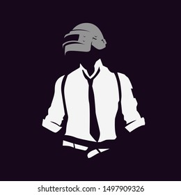 silhouette of a soldier, PUBG game, player in uniform. vector illustration logo