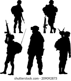 silhouette of soldier with rifle vector collection.