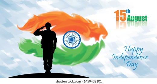 Silhouette of a soldier saluting for his mother nation.