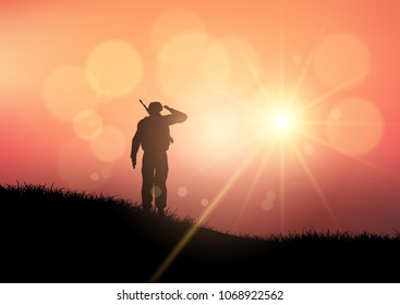 Silhouette of a soldier saluting at sunset