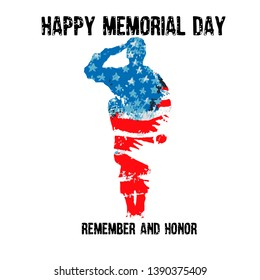 Silhouette of a soldier saluting with the text Memorial day remember and honor. American flag.  Celebration of all who served. American holiday poster.