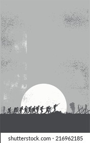 Silhouette of soldiers in the battlefield