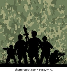 Silhouette of soldiers with rifle against a camouflage pattern background