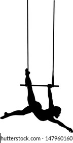 Silhouette of a solo trapeze artist hanging on a swinging bar. Vector illustration.