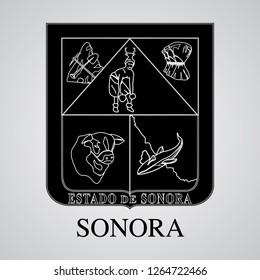 Silhouette of Sonora Coat of Arms. Mexican State. Vector illustration