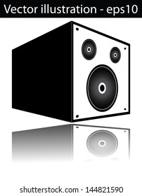 Silhouette of a sound speaker with reflection. Isolated vector.